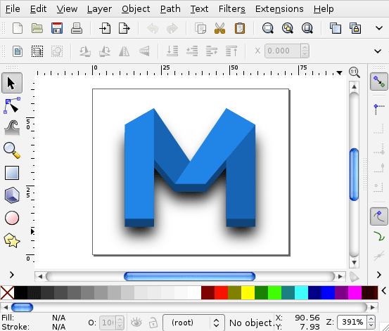 Minefold logo being created in Inkscape