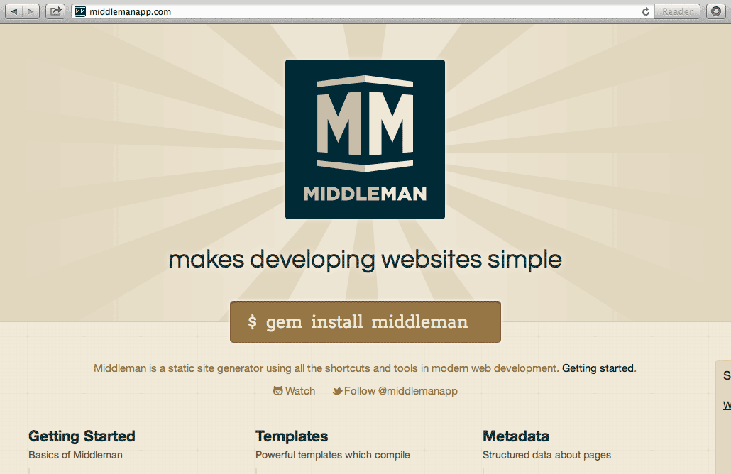 Middleman Static Site         Generator